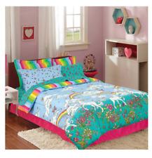 Girl's 8 Piece Full Size Comforter Set Rainbow Unicorn Reversible Bedding Kid's