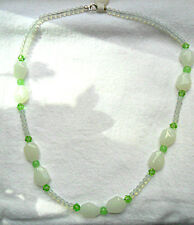 "20"" necklace, opalite, white, spring green glass beads"