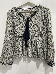 Zara Long Sleeve Floral Top S