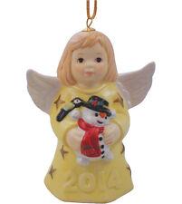 Goebel Angel Bell 2014 Nib Vanilla Dress Holding Snowman 109302 New In Box