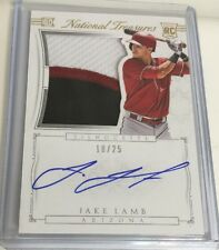 2015 JAKE LAMB NATIONAL TREASURES  AUTOGRAPH DIAMONDBACKS 3 Color Patch /25