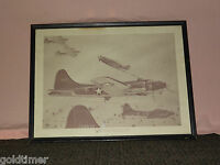 VINTAGE 1942 WWII FLYING FORTRESSES PHILLIPS PETROLEUM CO AIRPLANE PLATE PRINT