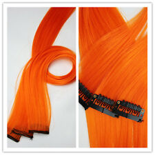 """4PCS 20"""" CLIP IN Synthetic Human Hair Extension Orange Straight Hairs Clip"""