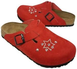 Birkenstock Papillio women red suede star Boston mules slides size us 6 37 new