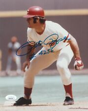 PETE ROSE SIGNED 8X10 COLOR PHOTO CINCINNATI REDS INSCRIBED #4256 HITS JSA COA