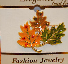 Gold-tone Brooch / Autumn Jewelry / Nip 3 Fall Leaves w Crystal Pin / 2""