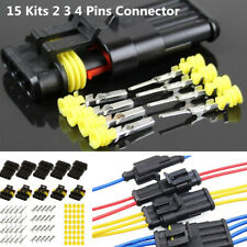 15 Kit 4/3/2 Pins Way Electrical Wire Connector Terminal Plug For Motorcycle Car