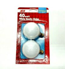 Vintage 40 Watt White Vanity Globe Light Bulbs Pack Of 2 1993 ACE New