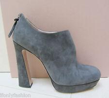 NIB MIU MIU Back Zipper Funky Heel Platform Suede Grey Ankle Booties Shoes 39