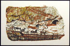 "Mancheski ""Wall Frieze at Lascaux"" Signed Numbered Art Print of cave painting"