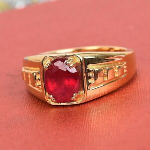 Natural Ruby Gemstone with Gold Plated 925 Sterling Silver Ring for Men's #5289