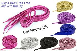 Glitter Wide Shoelaces Metallic Color Fancy Dress Party Funky Sparkly Laces UK