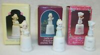 Lot of 3 Vintage Precious Moments Thimbles in Boxes -Christmas Mother Sew Dear