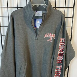Alabama Crimson Tide Champion Pullover Sweatshirt 1/4 Zip Gray Men's XL NEW