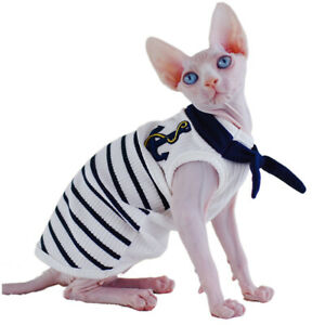 Sphynx Cat Clothes Thin Soft Navy Style Hairless Cat Clothes Cat Pajamas Devon