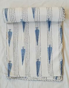 block printed 100% cotton kantha quilt Indian bedspread kantha throw bed cover