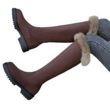 Ladies Knee High Calf Boots Womens Low Heel Comfort Fur Biker Shoes 41/42/43 L