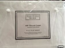 NEW WHITE WESTPORT FLAT SHEET FULL 600 THREAD COUNT 100% EGYPTIAN COTTON