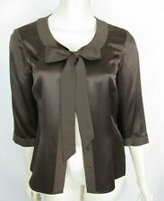 Brooks Brothers 100% Silk Bow Tie Shirt Size 6 Womens Blouse Small 3/4 Sleeve