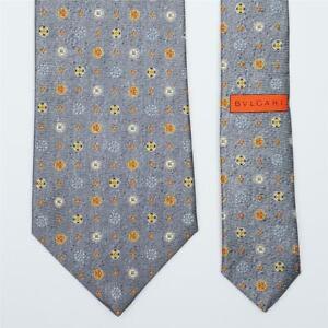 BVLGARI TIE Bulgari Fancy Polka Dot on Gray Wide 7-folded Silk Necktie