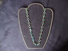 VINTAGE GOLD TONE BEZEL SET LARGE AQUA AUSTRIAN CRYSTALS LONG NECKLACE 34""