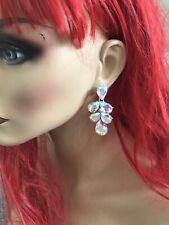 Ab Austrian Crystal Pageant Earrings 2� Long Silver Clear Aurora Borealis