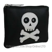 NEW Mens BOYS Black Leather SKULL & Cross Bones Coin Purse by Mala Zipped Handy
