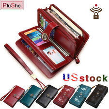 SENDEFN 100% Genuine Leather RFID Protection Wallets Large Capacity Long Purse