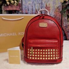 NWT MICHAEL KORS $328 JET SET XS Gold-Tone STUDDED Backpack Leather CHERRY