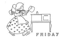 Days of the Week Sunbonnet Girls 1558 for Kitchen Dish Towels iron on embroidery