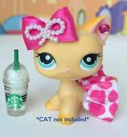 Littlest Pet Shop LPS 4 PC Clothes Accessories Lot Starbucks *CAT not Included*