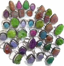 50 PCs. Lot !! NATURAL TITANIUM DRUZY 925 Sterling Silver Plated Ring Jewelry
