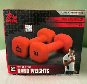 RBX 10 LB SET POUND DUMBBELLS Square 5LB Each (2) Weight New RBX-SC3030R Red