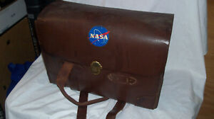 Vintage 1960s-70s NASA Space Agency Employee Leather BAG SATCHEL BRIEFCASE