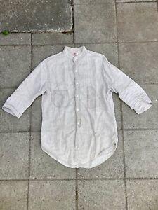 Freewheelers Skipper Linen Stripe Chambray 3/4 Sleeve Button Down Shirt Size 15