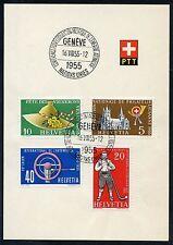 SWITZERLAND  SPECIAL UN  16.VIII.55 SPECIAL CANCEL ON PTT PRESENTATION  FOLDER