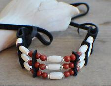 Native American Bracelet w/ Red Jasper Cherokee made William Lattie Cert of Auth