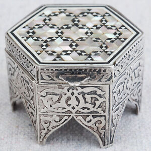 Egyptian 800 Silver Pill Trinket Box Middle Eastern Mosaic Inlay Moorish Table
