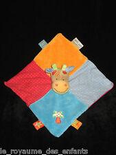 Doudou carré plat Vache Girafe Nattou à pois bleu orange rouge rose Palmier
