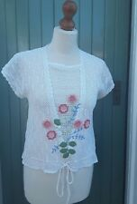 Vintage Crochet 1920s style Top Ivory Peach/Pink Flowers Size 10