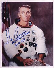 GENE CERNAN APOLLO 17 MOON WALKER -HAND SIGNED 8x10 PHOTO- W/ZARELLI SPACE LOA