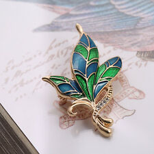 Blue Emerald and Gold Vintage Style Leaves Ribbon Flora Botanic Brooch