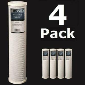 """Bluonics 4-PK Carbon Block 20 x 4.5"""" Whole House Charcoal Water Filters 5 Micron"""