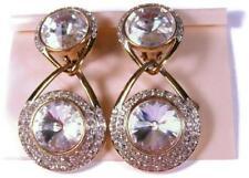 So Glitzy 1980's Italian Doorknocker Earrings w Crystal Rivoli Rhinestones Italy