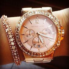New Michael Kors Women Oversize 43mm Rose Gold DYLAN Glitz Bracelet Watch MK5412