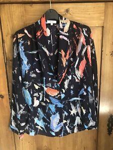 Reiss Blue Multi Paint Pattern Long Sleeved Blouse Shirt Uk 10