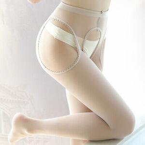 Sexy Sheer Pantyhose Ultra-thin Hollow OpenCrotch HighWaist Nylon Tight Stocking