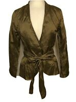 Ronen Chen Metallic Gold Beauty Jacket Attached Belt Size 1 Made Israel NWT