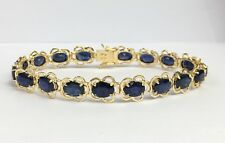 "14k Solid Yellow Gold Tennis Bracelet, Natural Sapphire 7.0"". 10.82 Grams"