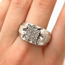 925 Sterling Silver Real Diamond Wide Men's Signet Ring SIze 11 1/4